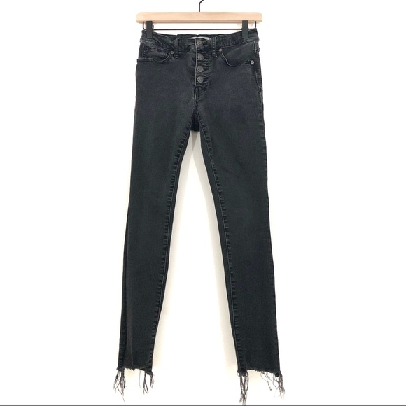 Madewell Denim - Madewell | High Rise Button Fly Cutoff Black Jeans